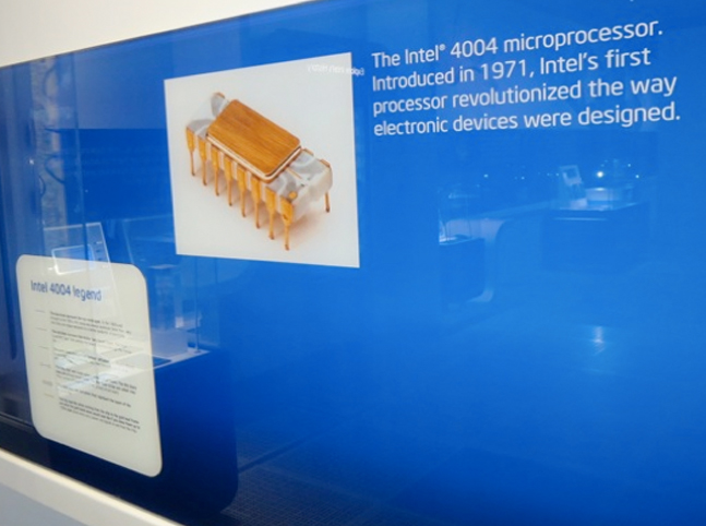 Enlarged Picture of the Packaged Intel 4004 Microprocessor Chip